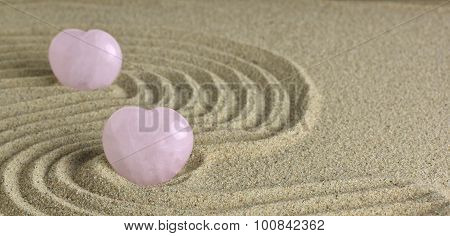Rose Quartz Heart In Zen Garden