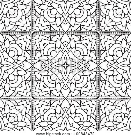 Seamless Abstract Tribal Black-white Pattern In Mono Line Style. Hand Drawn Ethnic Texture. Can Be U