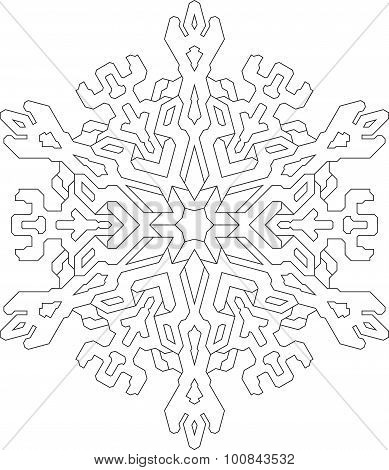 Outlines Of Snowflake In Mono Line Style For Coloring, Coloring Book. Vector Geometric Pattern.