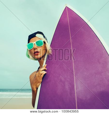 Let's Go Surf. Girl With Surf Board On The Beach