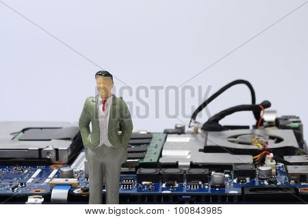 Disassembled Computer Components And People  Figurines