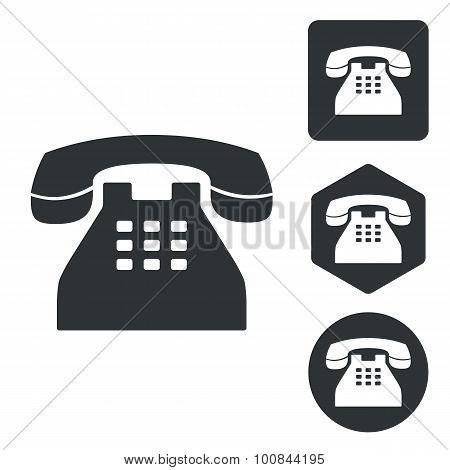 Telephone icon set, monochrome
