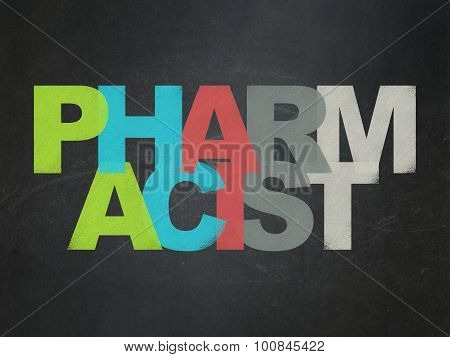 Medicine concept: Pharmacist on School Board background