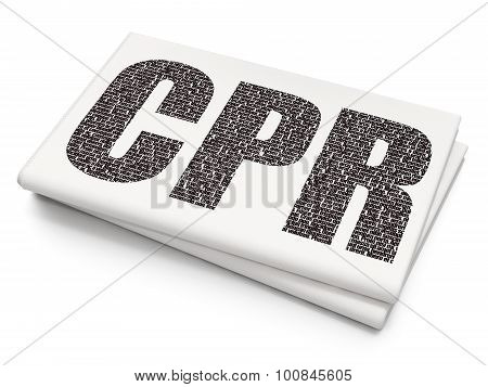 Healthcare concept: CPR on Blank Newspaper background