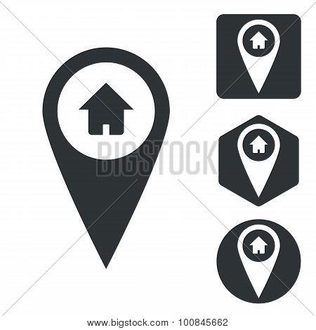 Address marker icon set, monochrome