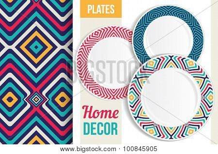 Pattern And Set Of Decorative Plates.