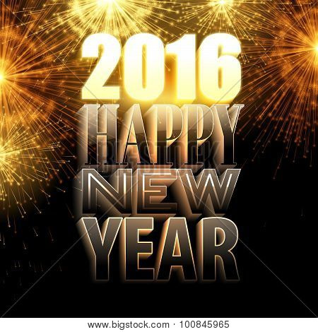 Happy New Year 2016. Holiday background with 3d light text