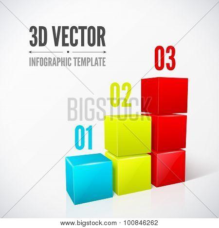 Cubes 3D infographics modern design layout.