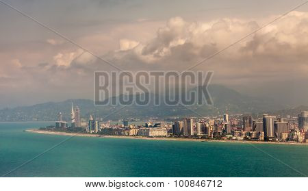 Batumi, Georgia - July 20: Aerial View Of Seaside City On Black Sea Coast, Batumi, Georgia
