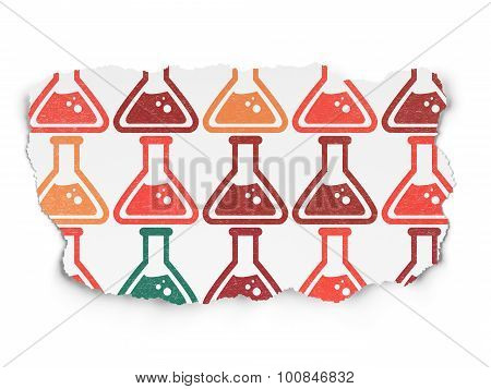 Science concept: Flask icons on Torn Paper background