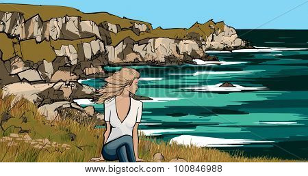 woman seated on the ground looking at the ocean - vector illustration
