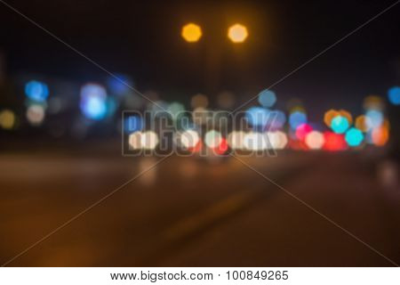 Defocused photo of night city