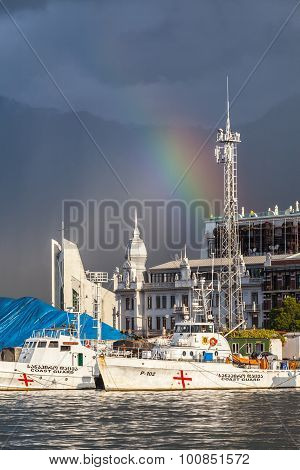 Batumi, Georgia - July 20, 2015: The Port In Batumi. With A Population Of 190,000 Batumi Serves As A