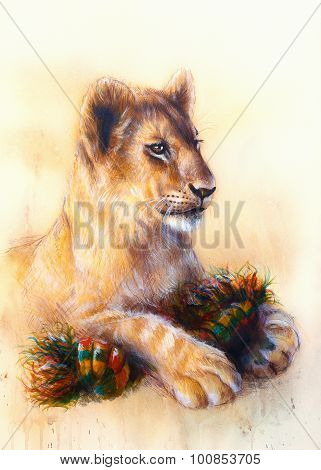 Little lion cub cuddling and playing with toy . animal painting on vintage paper, abstract color bac