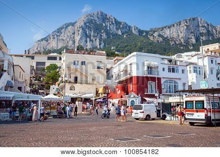 Port Of Capri Island, Tourists, Cars, Buildings