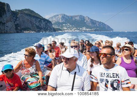 Tourists On The Boat Trip Around The Capri Island