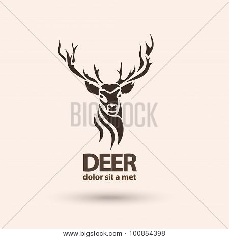 Creative art icon stylized deer. Modern idea for your company. Silhouette wild animal. Vector illust