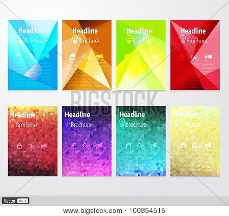 Vector set flyer. Brochure design template. Triangular geometric backgrounds. Modern idea of busines