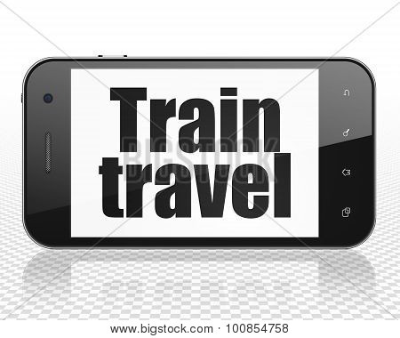 Tourism concept: Smartphone with Train Travel on display