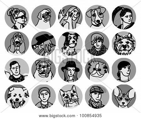 People and pets faces round icons gray scale set