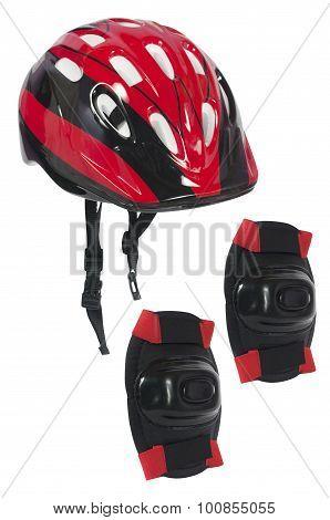 bicycle helmet and knee pads