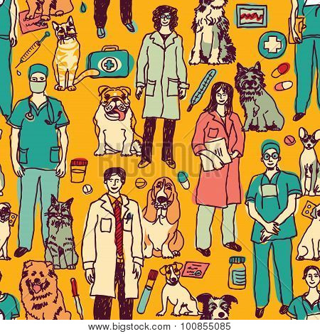 Veterinary people and pets seamless pattern