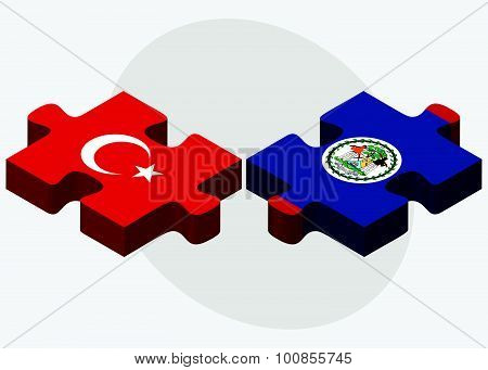 Turkey And Belize Flags
