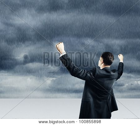 Businessman And Thunderstorm