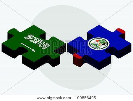 Saudi Arabia And Belize Flags