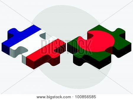 France And Bangladesh Flags