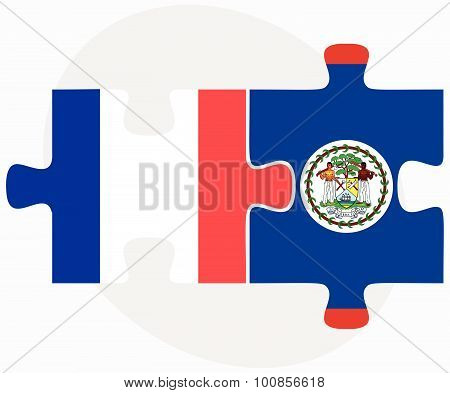 France And Belize Flags