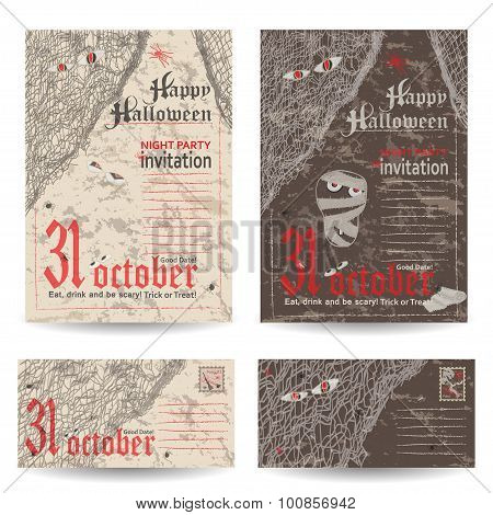 Set of vintage post cards, letters and envelope for Halloween party