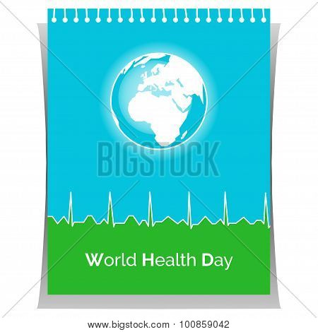 Poster for World Health Day in white, blue, green colors.