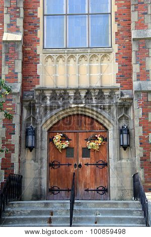 Pretty wreaths on doors of old church