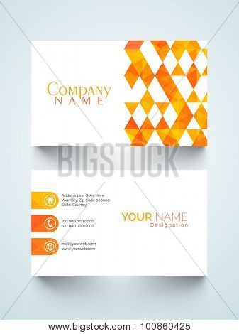Creative horizontal business card or visiting card with abstract design for your profession.