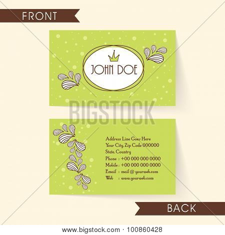 Beautiful floral design decorated green color horizontal business card, name card or visiting card set.