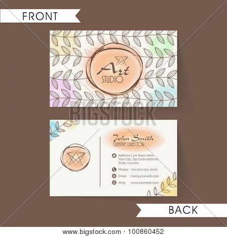 Beautiful floral decorated, horizontal business card, name card or visiting card set i  multiple colours.