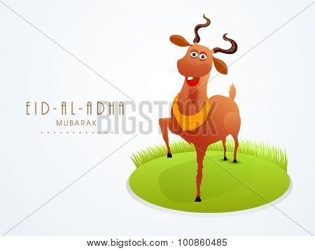 Muslim community festival of sacrifice, Eid-Al-Adha Mubarak with illustration of a goat on nature background.