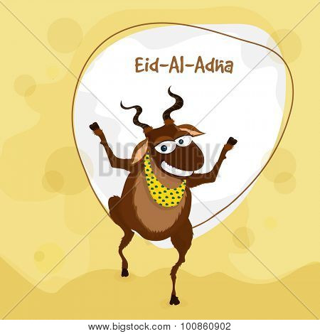 Muslim community festival of sacrifice, Eid-Al-Adha celebration with illustration of a goat on stylish background.