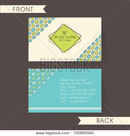 Professional horizontal business card, name card or visiting card set, decorated with creative abstract design.