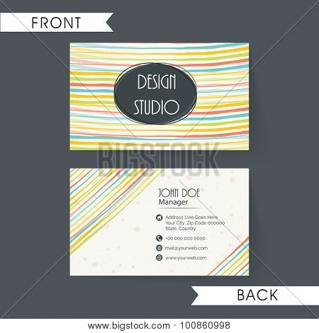Stylish horizontal business card, name card or visiting card set decorated by colorful lines.