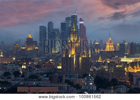 MOSCOW - JUN 13, 2015: Stalin skyskrapers, Moscow International Business Center. Investments in Moscow International Business Center was approximately 12 billion dollars
