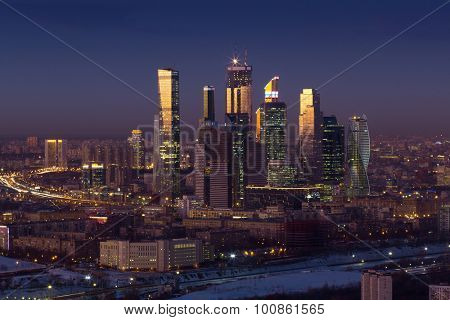 MOSCOW - FEB 17, 2015: Moscow International Business Center in cty at night. Investments in Moscow International Business Center was approximately 12 billion dollars