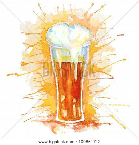 Watercolor isolated glass of beer