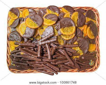 Slices Of Orange Coated Chocolate
