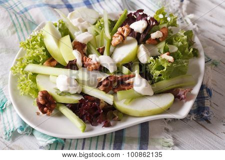 Waldorf Salad With Apples And Celery Close-up On A Plate. Horizontal