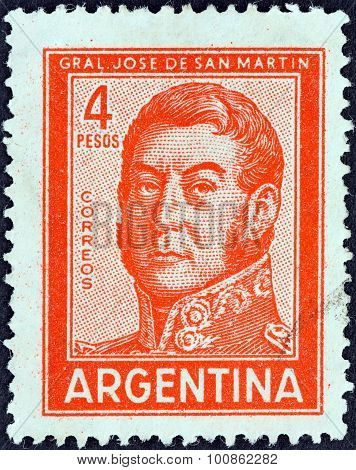 ARGENTINA - CIRCA 1959: A stamp printed in Argentina shows General Jose de San Martin