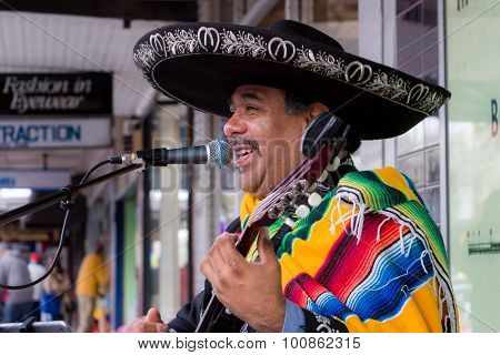 Mexican Musician Busking On The Street