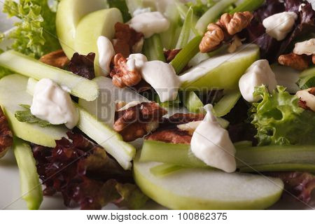 Classic Waldorf Salad Macro On A Plate. Horizontal Background