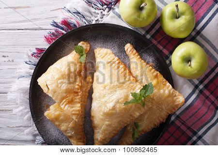 Delicious Homemade Apple Pie Turnover Closeup. Horizontal Top View